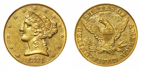 1871 Liberty Head $5 Gold Half Eagle - Five Dollars