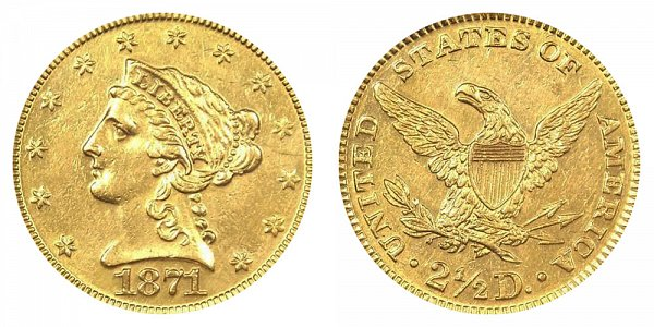 1871 Liberty Head $2.50 Gold Quarter Eagle - 2 1/2 Dollars