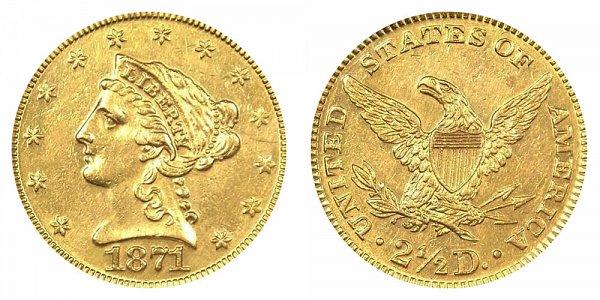 1871 Liberty Head $2.50 Gold Quarter Eagle - 2 1/2 Dollars