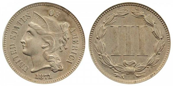 1871 Nickel Three Cent Piece