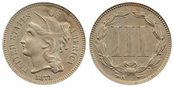 1871 Nickel Three Cent Piece