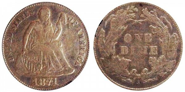 1871 S Seated Liberty Dime
