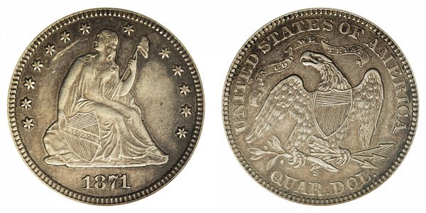1871 S Seated Liberty Quarter
