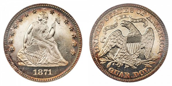 1871 Seated Liberty Quarter