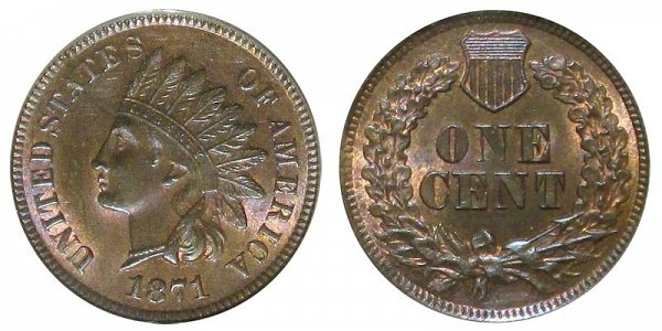 1871 Shallow N Indian Head Cent Penny