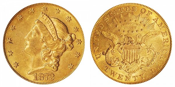 1872 CC Liberty Head $20 Gold Double Eagle - Twenty Dollars