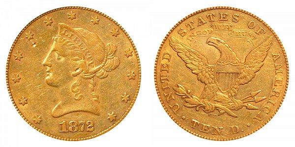 1872 CC Liberty Head $10 Gold Eagle - Ten Dollars