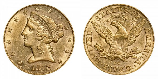 1872 CC Liberty Head $5 Gold Half Eagle - Five Dollars