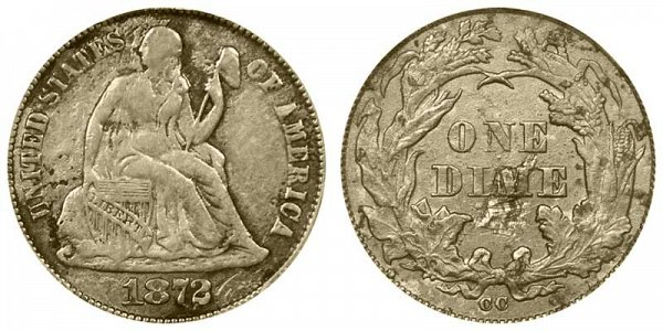 1872 CC Seated Liberty Dime