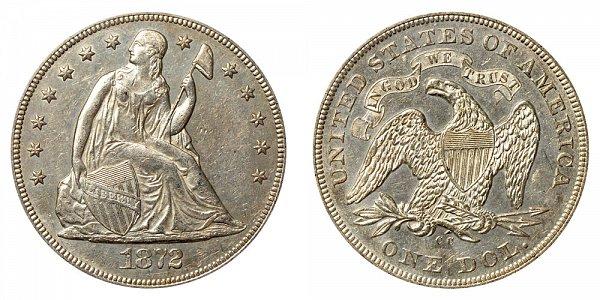 1872 CC Seated Liberty Silver Dollar