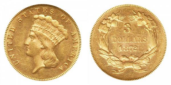 1872 Indian Princess Head $3 Gold Dollars - Three Dollars