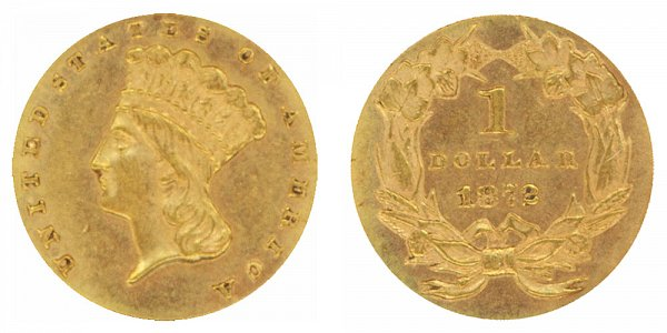 1872 Large Indian Princess Head Gold Dollar G$1