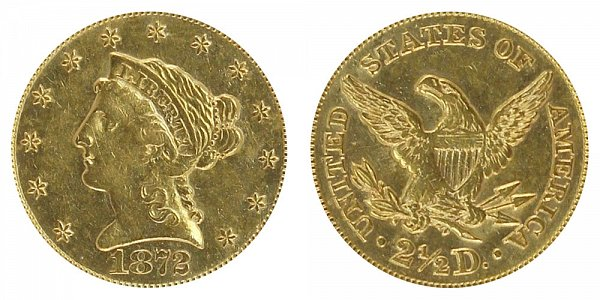 1872 Liberty Head $2.50 Gold Quarter Eagle - 2 1/2 Dollars