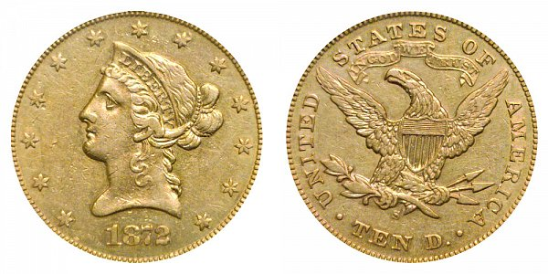 1872 S Liberty Head $10 Gold Eagle - Ten Dollars