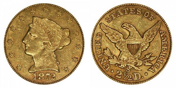 1872 S Liberty Head $2.50 Gold Quarter Eagle - 2 1/2 Dollars