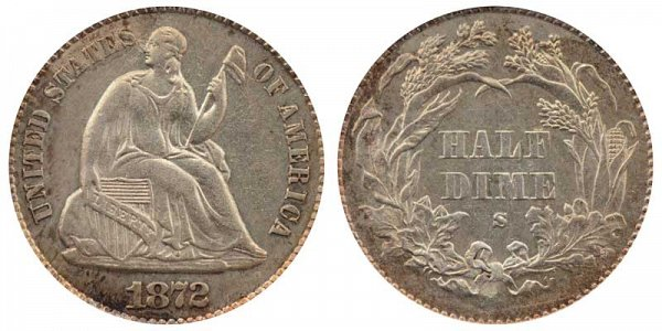1872 S Seated Liberty Half Dime - Mint Mark Above Bow