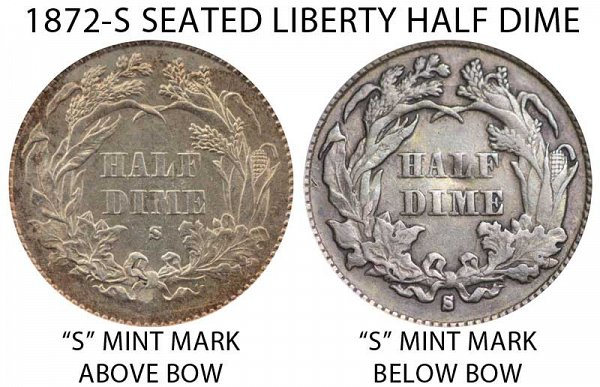 1872 S Mint Mark Above Bow vs Below Bow Seated Liberty Half Dime - Difference and Comparison