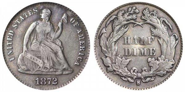 1872 S Seated Liberty Half Dime - Mint Mark Below Bow