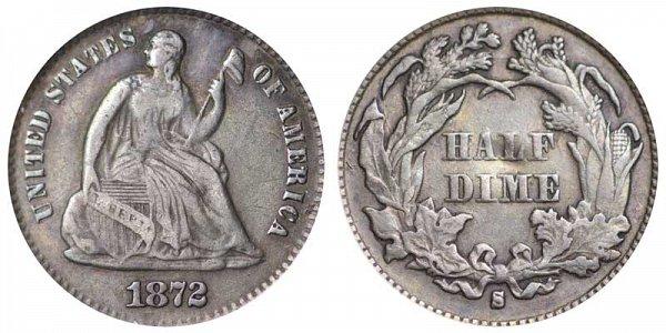 1872 S Seated Liberty Half Dime - Mint Mark Below Bow