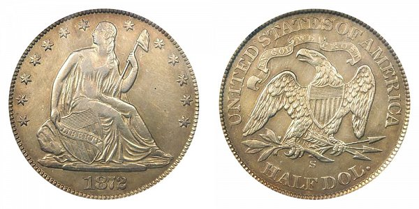 1872 S Seated Liberty Half Dollar
