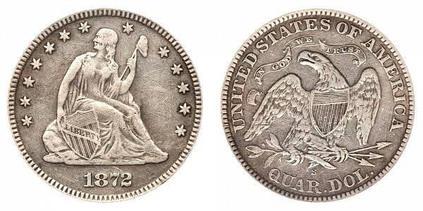1872 S Seated Liberty Quarter
