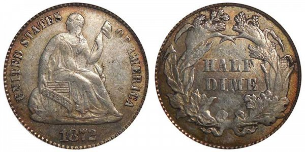1872 Seated Liberty Half Dime
