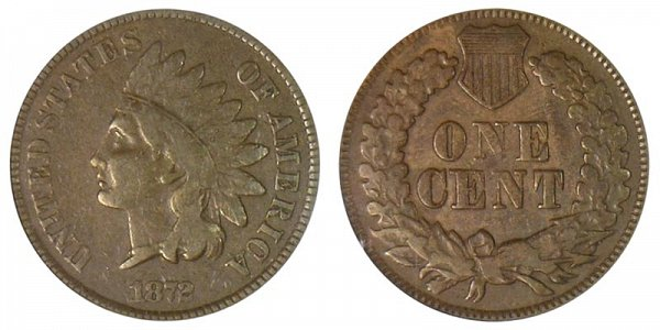 1872 Shallow N Indian Head Cent Penny