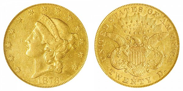 1873 CC Liberty Head $20 Gold Double Eagle - Twenty Dollars