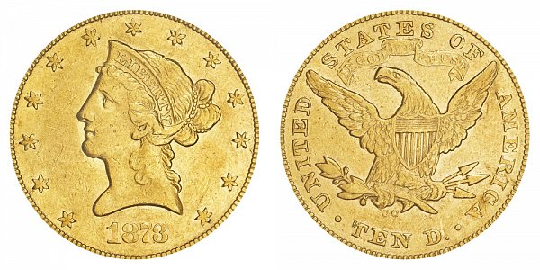 1873 CC Liberty Head $10 Gold Eagle - Ten Dollars