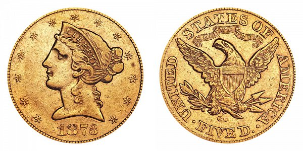 1873 CC Liberty Head $5 Gold Half Eagle - Five Dollars