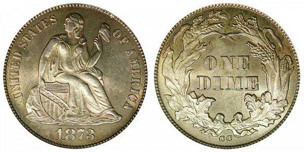1873 CC Seated Liberty Dime - No Arrows