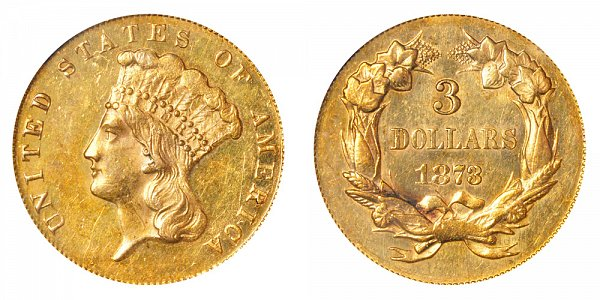 1873 Indian Princess Head $3 Gold Dollars - Closed 3