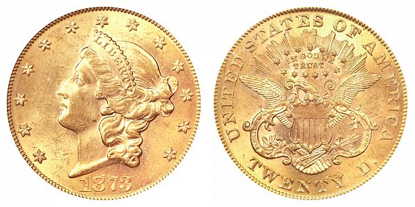 1873 Closed 3 Liberty Head $20 Gold Double Eagle - Twenty Dollars