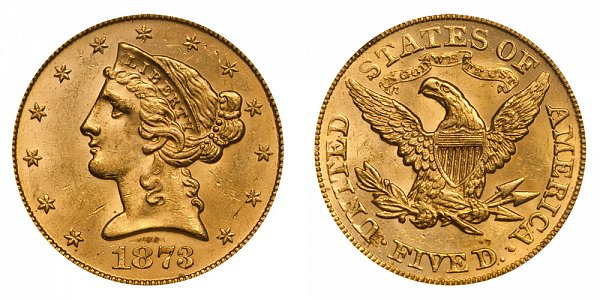 1873 Closed 3 Liberty Head $5 Gold Half Eagle - Five Dollars