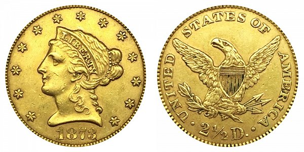 1872 Liberty Head $2.50 Gold Quarter Eagle - 2 1/2 Dollars - Closed 3