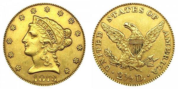 1872 Liberty Head $2.50 Gold Quarter Eagle - 2 1/2 Dollars - Closed 3