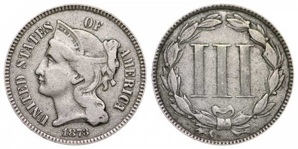 1873 Nickel Three Cent Piece - Closed 3