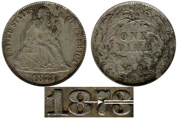 1873 Closed 3 Seated Liberty Dime - No Arrows
