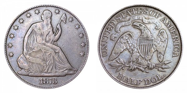 1873 Closed 3 Seated Liberty Half Dollar - No Arrows