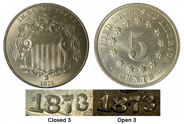 1873 Closed 3 Shield Nickel