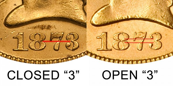 1873 Open 3 vs Closed 3 - $5 Liberty Head Gold Half Eagle - Difference and Comparison