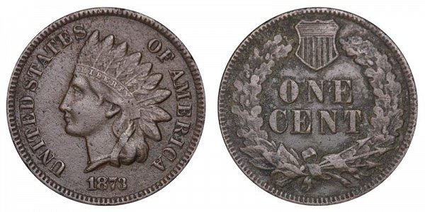 1873 Open 3 Indian Head Cent Penny