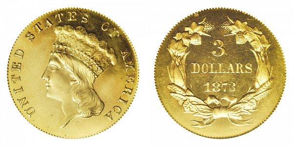 1873 Indian Princess Head $3 Gold Dollars - Open 3