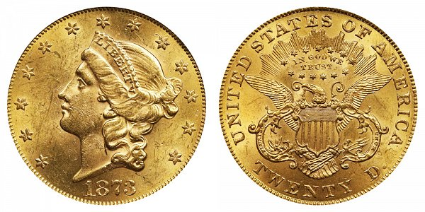 1873 Open 3 Liberty Head $20 Gold Double Eagle - Twenty Dollars