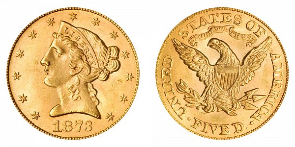 1873 Open 3 Liberty Head $5 Gold Half Eagle - Five Dollars