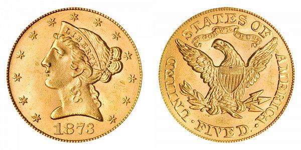 1873 Open 3 Liberty Head $5 Gold Half Eagle - Five Dollars
