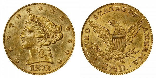 1872 Liberty Head $2.50 Gold Quarter Eagle - 2 1/2 Dollars - Open 3