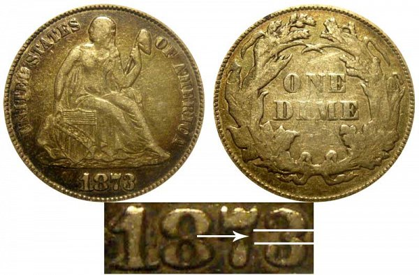 1873 Open 3 Seated Liberty Dime - No Arrows