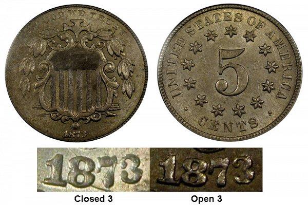 1873 Open 3 Shield Nickel