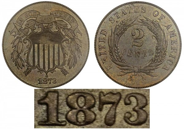1873 Open 3 Restrike Two Cent Piece